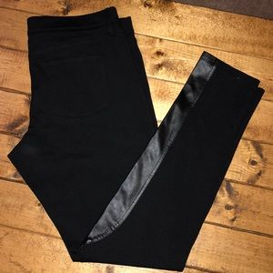J. Crew The Gigi Pant Black with Faux Leather 10